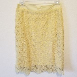 Anthro Yellow Lace Skirt